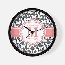 Gray Butterflies, Coral Monogram Wall Clock