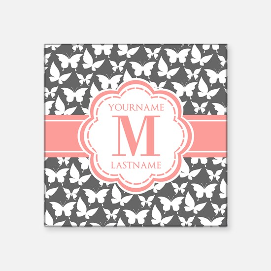 "Gray Butterflies, Coral Mon Square Sticker 3"" x 3"""