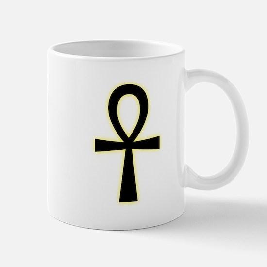 Ankh (Black, Yellow Glow) Mugs