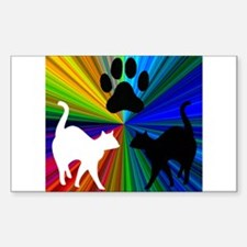 RAINBOW PAW CATS Rectangle Decal