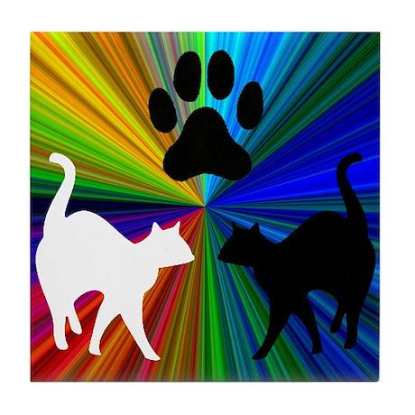 RAINBOW PAW CATS Tile Coaster