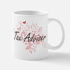 Tax Adviser Artistic Job Design with Butterfl Mugs