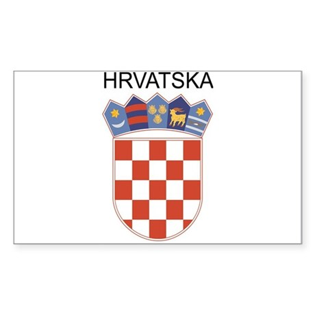 Croatia Arms with Name Rectangle Sticker