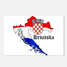 Croatia Flag Map Postcards (Package of 8)