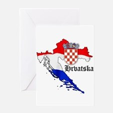 Croatia Flag Map Greeting Card