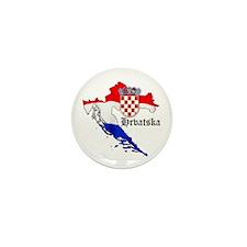 Croatia Flag Map Mini Button (10 pack)