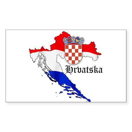 Croatia Flag Map Rectangle Sticker
