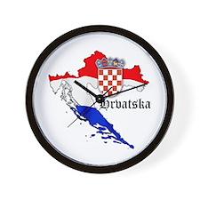 Croatia Flag Map Wall Clock