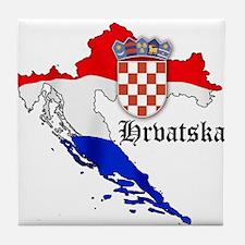 Croatia Flag Map Tile Coaster