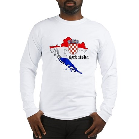 Croatia Flag Map Long Sleeve T-Shirt