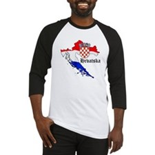 Croatia Flag Map Baseball Jersey