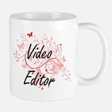 Video Editor Artistic Job Design with Butterf Mugs