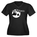 Earthican Women's Plus Size V-Neck Dark T-Shirt