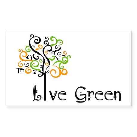 Live Green Tree Rectangle Sticker