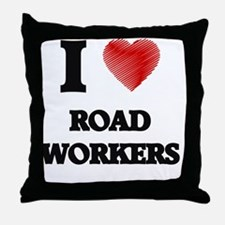 I Love Road Workers Throw Pillow