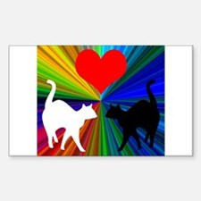RAINBOW LOVE CATS Rectangle Decal