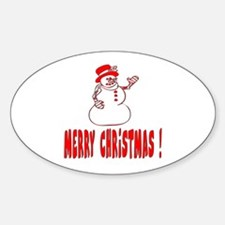 Snowman Oval Decal
