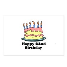 Happy 22nd Birthday Postcards (Package of 8)