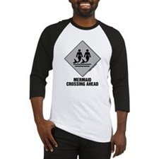 Mermaid Crossing Ahead Baseball Jersey