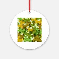 Autism Awareness Puzzles Camo Round Ornament