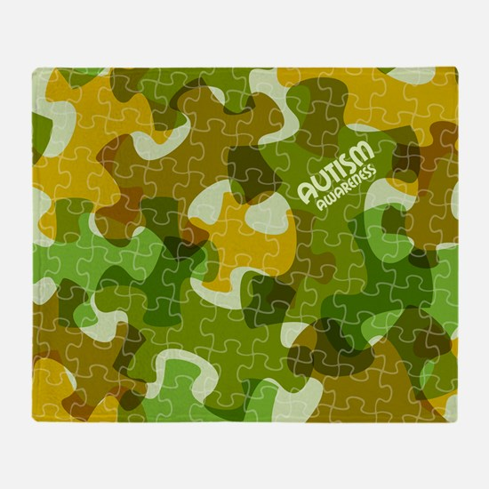 Autism Awareness Puzzles Camo Throw Blanket