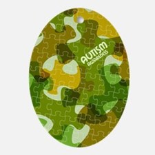 Autism Awareness Puzzles Camo Oval Ornament