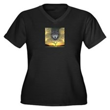 Wolf ~ Women's Plus Size V-Neck Dark T-Shirt