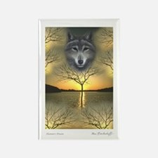 Wolf - 'Shaman's Dream' Single Rectangle Magnet
