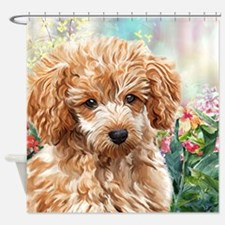 Poodle Painting Shower Curtain