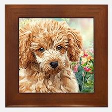 Poodle Painting Framed Tile