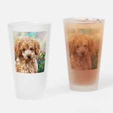 Poodle Painting Drinking Glass