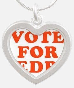 Funny Vote for pedro Silver Heart Necklace