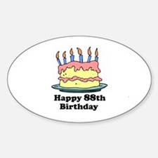 Happy 88th Birthday Oval Decal