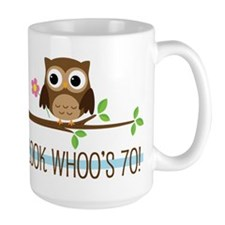 70th Birthday Owl Mugs