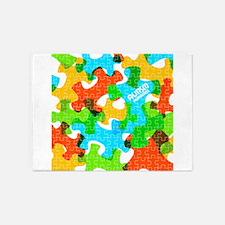 Autism Awareness Puzzles 5'x7'Area Rug