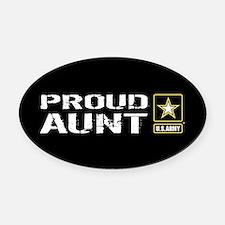 U.S. Army: Proud Aunt (Black) Oval Car Magnet