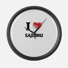 I Love Salami Large Wall Clock