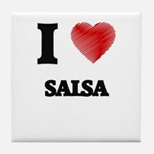I Love Salsa Tile Coaster