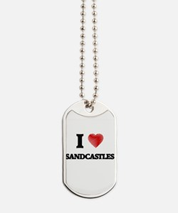 I Love Sandcastles Dog Tags