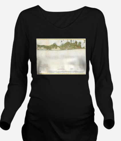 Vintage Map of The H Long Sleeve Maternity T-Shirt
