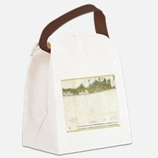 Vintage Map of The Hamptons (1857 Canvas Lunch Bag