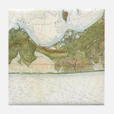 Vintage Map of The Hamptons (1857) Tile Coaster