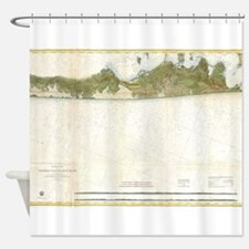 Vintage Map of The Hamptons (1857) Shower Curtain