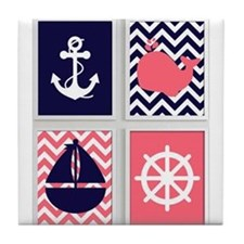 NAUTICAL IMAGES ON NAVY AND CORAL CHEVRON Tile Coa