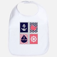 NAUTICAL IMAGES ON NAVY AND CORAL CHEVRON Bib