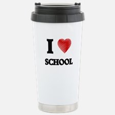 I Love School Stainless Steel Travel Mug