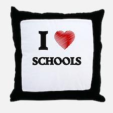I Love Schools Throw Pillow