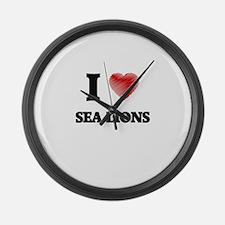 I Love Sea Lions Large Wall Clock