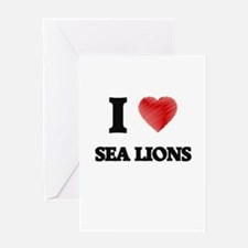 I Love Sea Lions Greeting Cards