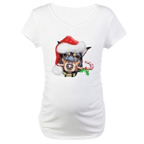 Min Pin Christmas Maternity T-Shirt